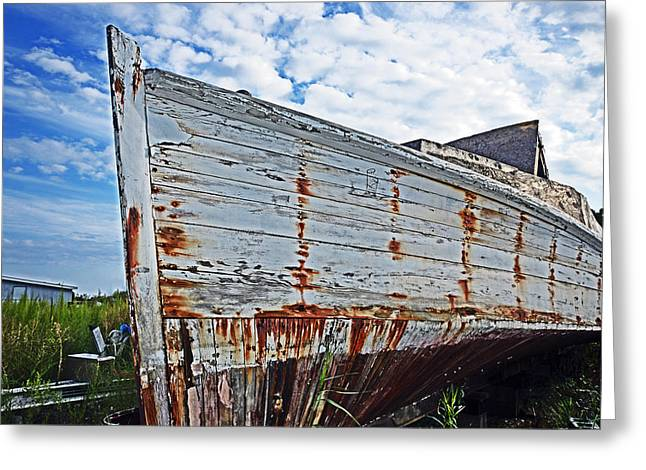 Derelict Workboat In Greenbackville Greeting Card by Bill Swartwout