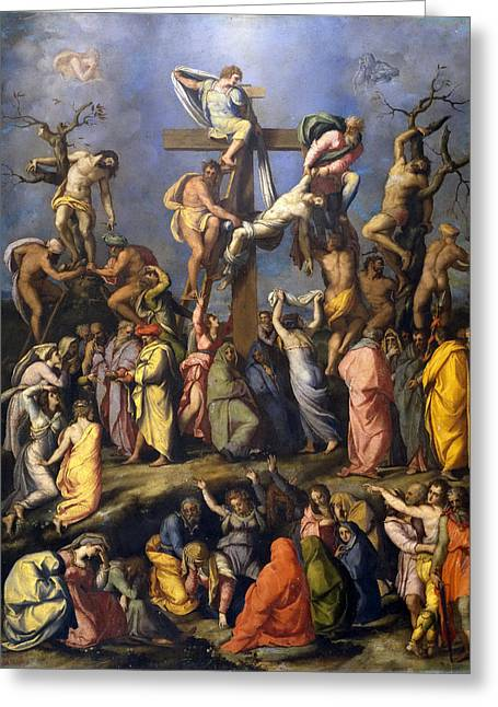 Descent From The Cross Greeting Card by Alessandro Allori