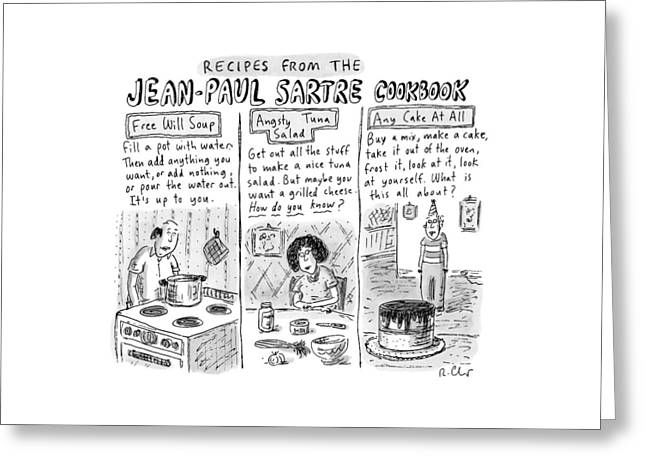 Descriptions Of Jean-paul Sartre Cookbook Recipes Greeting Card