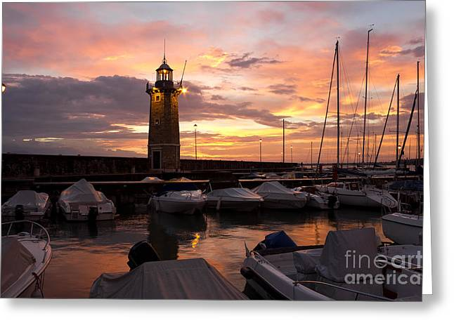 Desenzano Del Garda Marina Old Lighthouse Sunrise Greeting Card by Kiril Stanchev