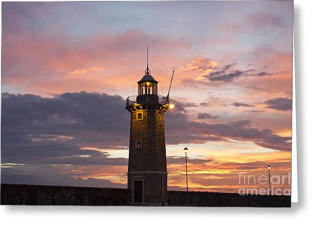 Desenzano Del Garda The Old Harbor Lighthouse Greeting Card by Kiril Stanchev