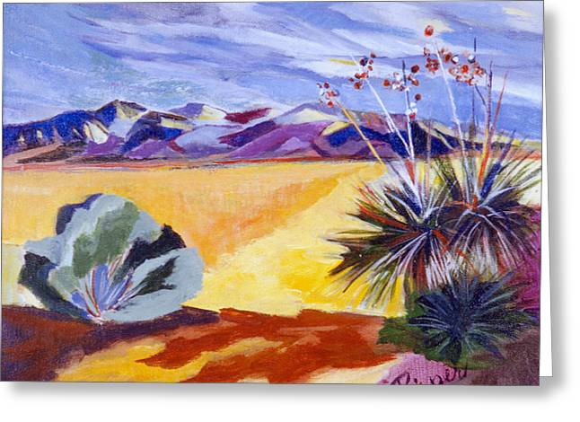 Desert And Mountains Greeting Card by Betty Pieper