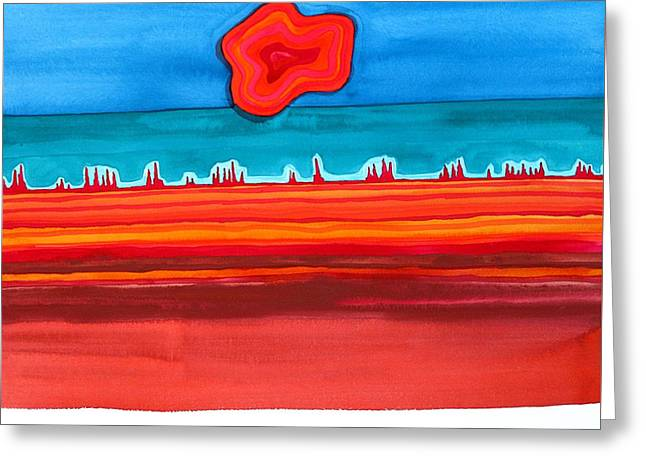 Desert Cities Original Painting Sold Greeting Card