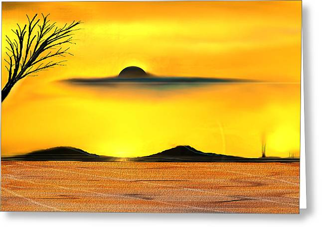 Greeting Card featuring the painting Desert Eclipse by Yul Olaivar