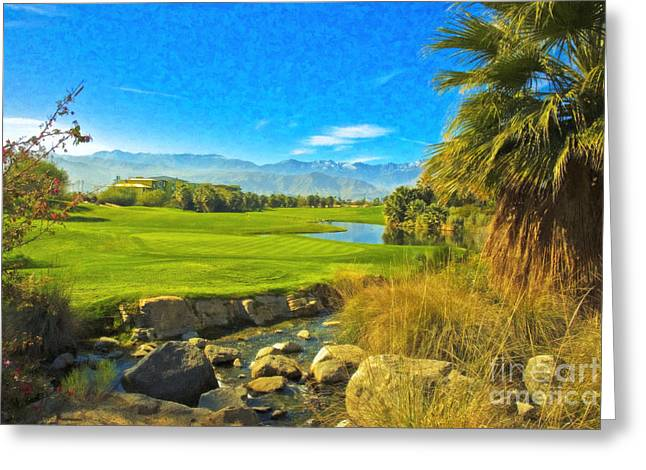 Desert Golf Resort Pastel Photograph Greeting Card by David Zanzinger