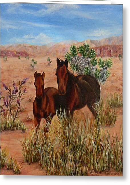 Desert Horses Greeting Card by Roseann Gilmore