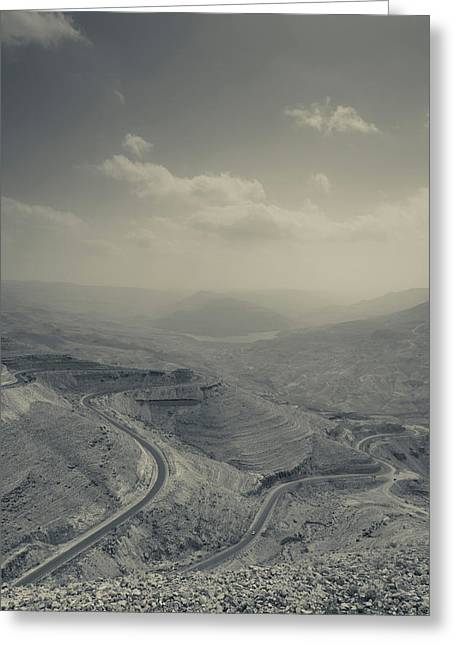 Desert Landscape With Highway, Wadi Greeting Card