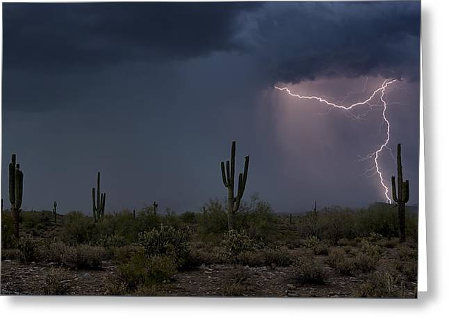 Desert Lightning  Greeting Card by Saija  Lehtonen