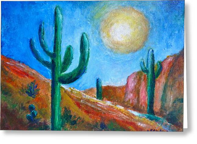 Desert Moon Greeting Card by Victoria Lakes