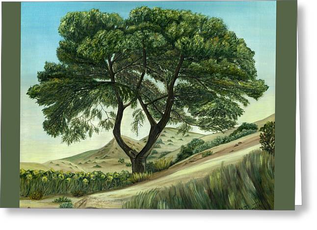 Greeting Card featuring the painting Desert Pine by Angeles M Pomata