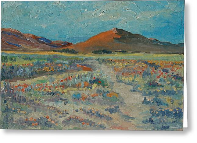Desert Spring Flowers With Orange Hill Greeting Card