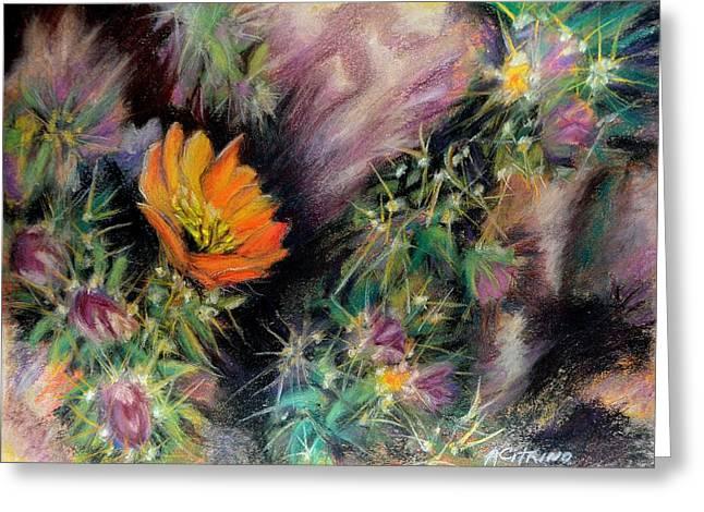 Desert Spring Impression Of   Pastel Greeting Card by Antonia Citrino