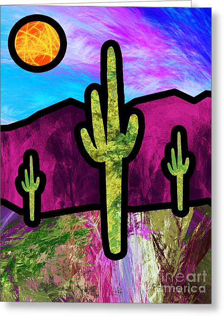 Desert Stained Glass Greeting Card by Methune Hively