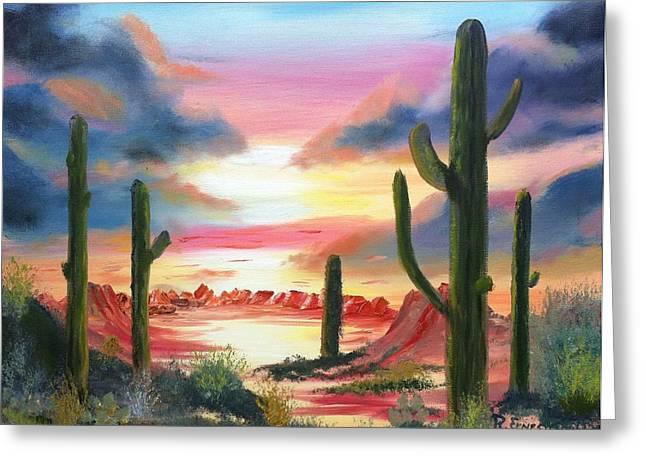 Desert Sunrise Greeting Card by Roy Gould