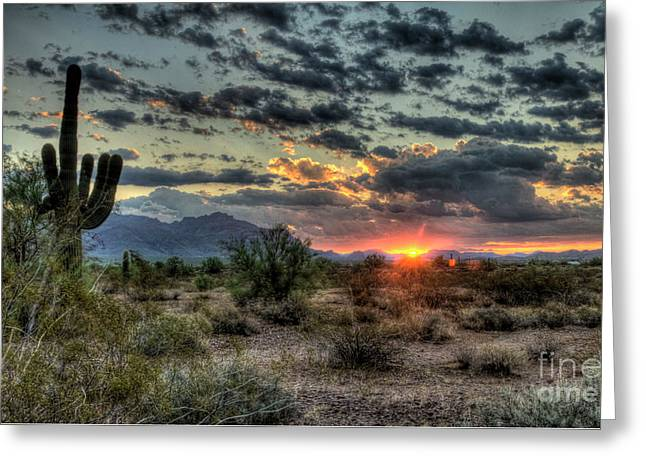 Desert Sunrise  Greeting Card by Saija  Lehtonen