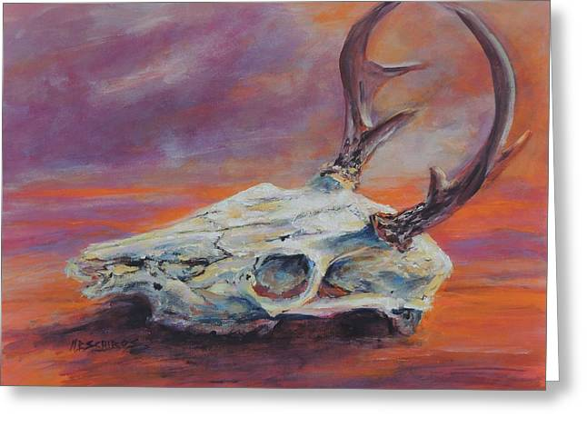 Desert Sunset Deer Greeting Card by Mary Schiros
