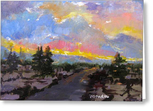 Desert Sunset Greeting Card by MaryAnne Ardito