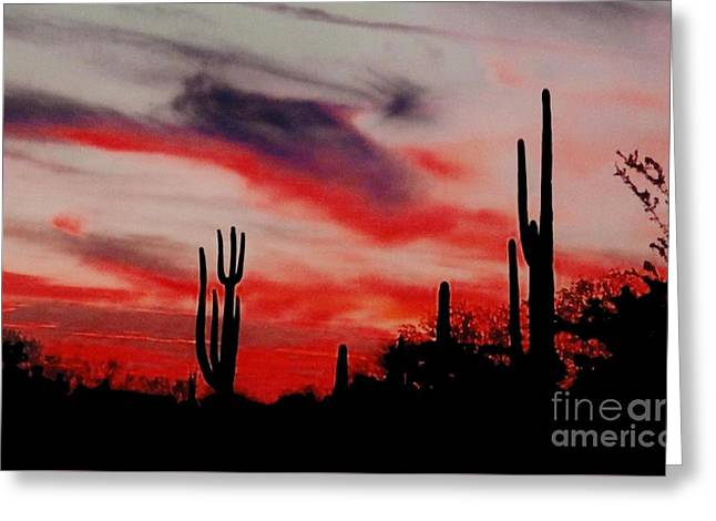 Desert Sunset Northern Lights Version 3 Greeting Card