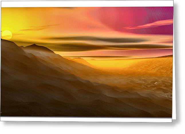 Greeting Card featuring the digital art Desert Sunset by Tyler Robbins