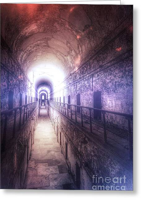 Deserted Prison Hallway Greeting Card by Jill Battaglia