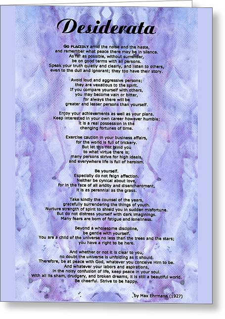 Desiderata 3 - Words Of Wisdom Greeting Card by Sharon Cummings
