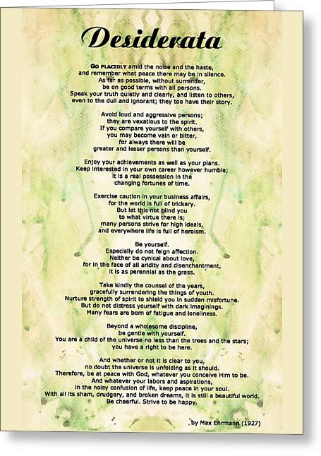 Desiderata 5 - Words Of Wisdom Greeting Card by Sharon Cummings