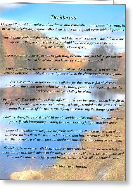 Desiderata - Bald Mountain Pond - Old Forge New York Greeting Card by David Patterson
