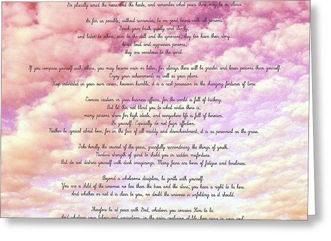 Desiderata - Cotton Candy Sky Greeting Card by Marianna Mills