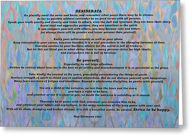 Desiderata Colorful Greeting Card by Dan Sproul