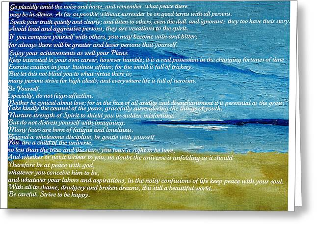 Desiderata Greeting Card by Conor Murphy