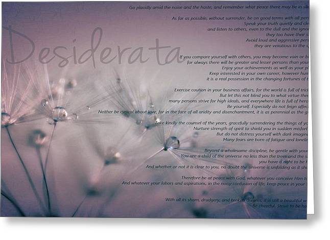 Desiderata - Dandelion Tears Greeting Card by Marianna Mills