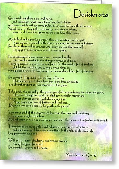 Desiderata - Inspirational Poem Greeting Card
