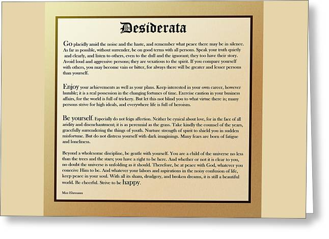 Desiderata Old English Square Greeting Card by Christina Rollo