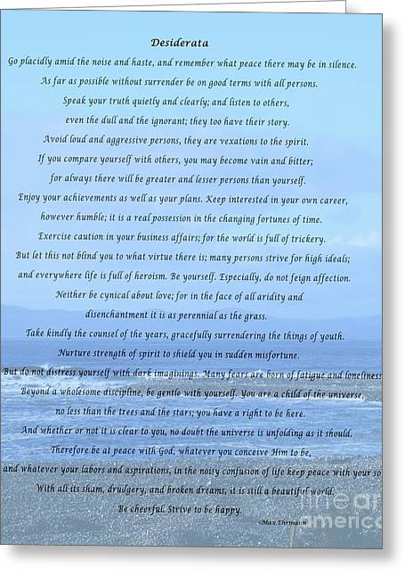 Desiderata On Beach And Ocean Scene Greeting Card by Barbara Griffin