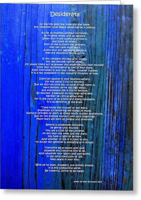 Desiderata On Blue Greeting Card by Leena Pekkalainen