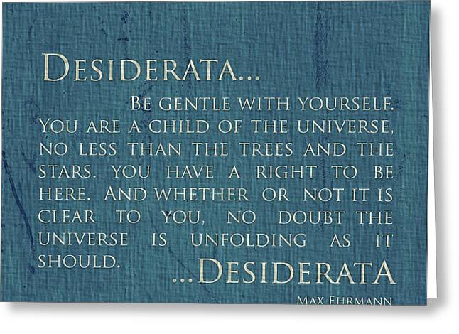 Desiderata On Canvas Greeting Card by Dan Sproul
