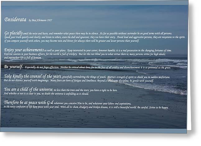 Desiderata  Greeting Card by Tikvah's Hope