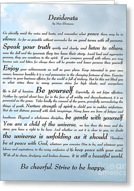 Desiderata - Sky Design Greeting Card by Ginny Gaura