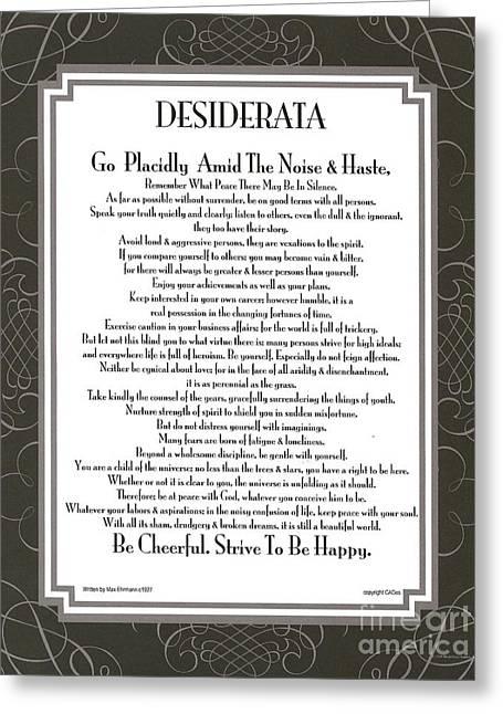 Desiderata Squared Swirls Greeting Card by Desiderata Gallery