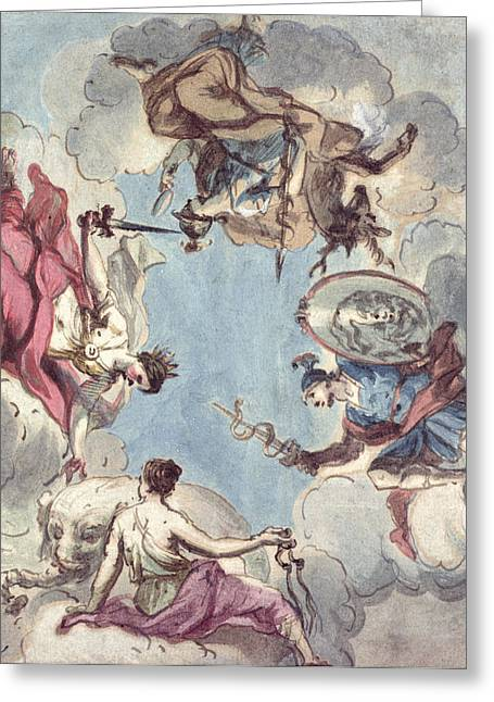 Design For A Ceiling The Four Cardinal Virtues, Justice, Prudence, Temperance And Fortitude Greeting Card by Sir James Thornhill