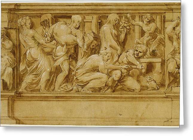 Design For A Frieze With Worshipers Bringing Sacrificial Greeting Card by Litz Collection