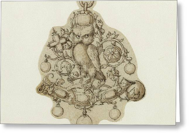 Design For A Pendant Jewel Attributed To Theodor De Bry Greeting Card