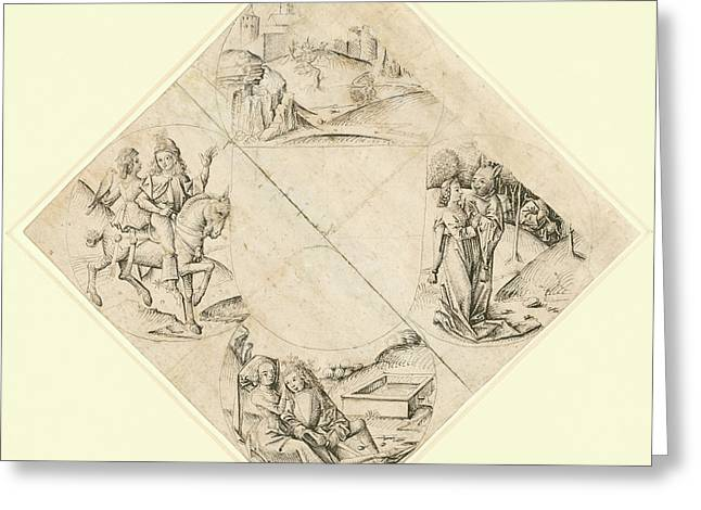 Design For A Quatrefoil With A Castle, Two Lovers Greeting Card