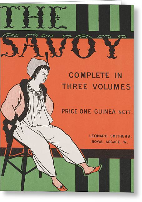 Design For The Front Cover Of 'the Savoy Complete In Three Volumes' Greeting Card