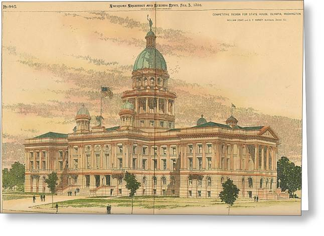 Design For The State House Olympia Washington 1894 Greeting Card by William Cowe and gf Harvey Architects