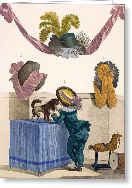 Designs For Hats, Engraved By Dupin Greeting Card