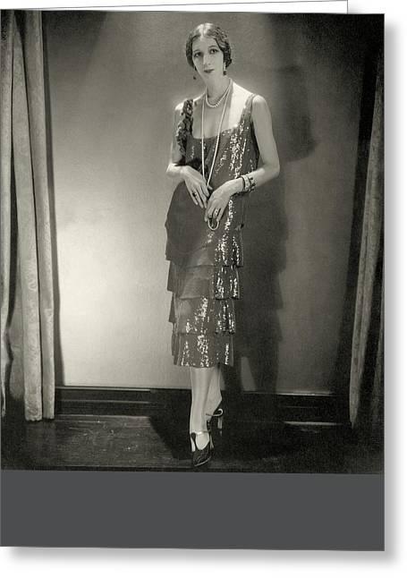 Desiree Lubowska Wearing A Chanel Dress Greeting Card by Edward Steichen