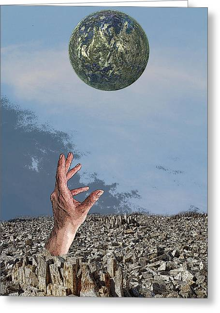 Greeting Card featuring the digital art Desiring Another World by Angel Jesus De la Fuente