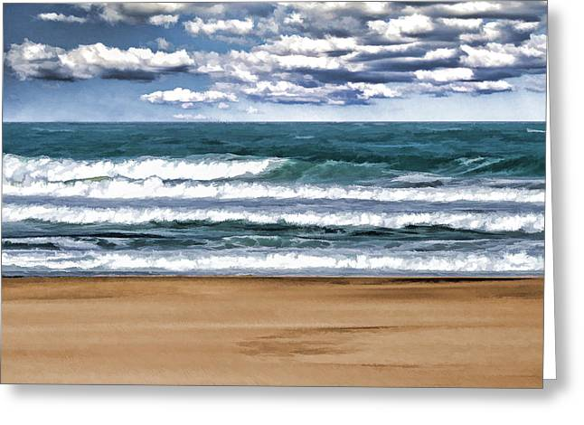 Desolate Day At The Beach Greeting Card by Elaine Plesser