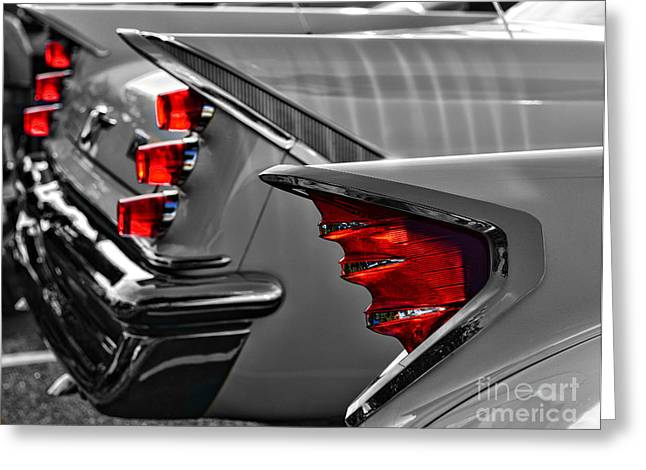 Desoto Red Tail Lights In Black And White Greeting Card by Paul Ward